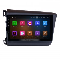 10,1 pouces pour 2012 Honda Civic Android 11.0 Radio système de navigation GPS avec écran tactile HD 1024 * 600 Bluetooth OBD2 DVR Caméra de recul TV 1080P Vidéo 3G WIFI Commande au volant USB Lien miroir