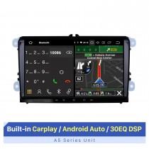 9 pouces Android 10.0 Radio Car Navigation Head Unit pour 2008-2013 Skoda Seat VW Volkswagen Passat Tiguan Polo Scirocco avec 4G WiFi Mirror Link OBD2 Bluetooth Commande au volant