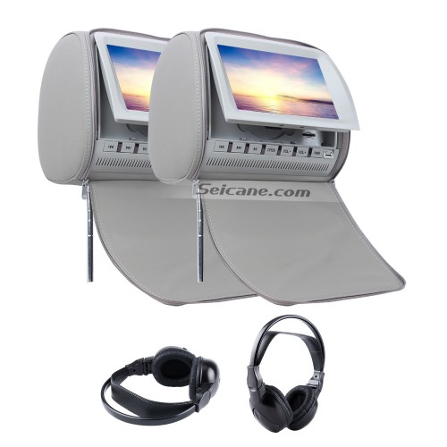 Headrest DVD Player 9 inch with FM Games and Zipper Cover(1 Pair)-1