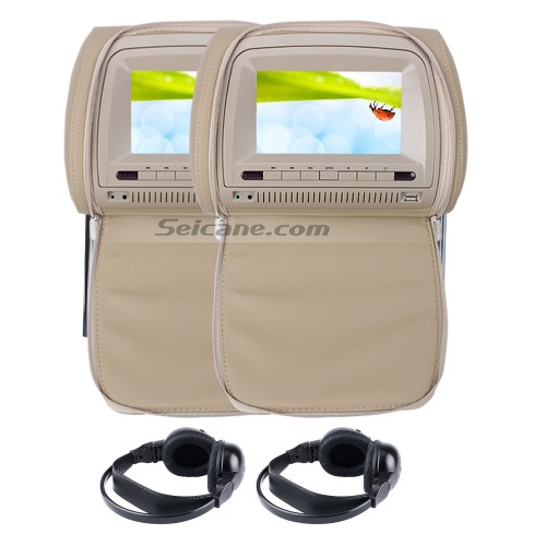7 inch Headrest Car DVD player with FM Game(1 Pair)-1