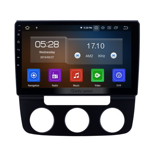 10.1 pulgadas 2006-2010 VW Volkswagen Bora Manual A / C Android 9.0 Navegación GPS Radio Bluetooth HD Pantalla táctil Carplay soporte Mirror Link