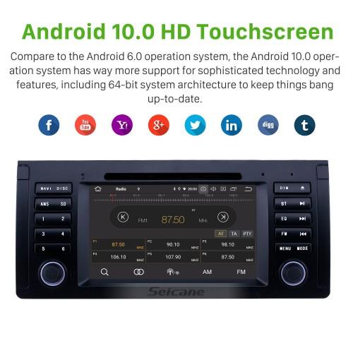 Radio Android 10.0 de 7 pulgadas para 1996-2003 BMW X5 E53 Bluetooth Wifi HD Pantalla táctil Navegación GPS Carplay Soporte USB TPMS Enlace espejo