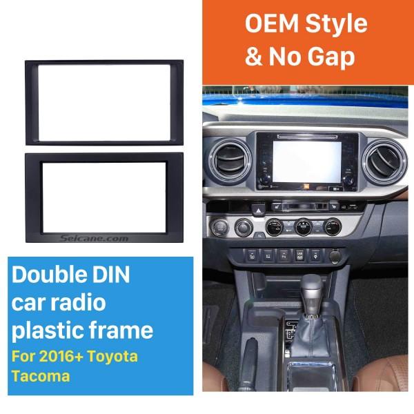 Última Doble Din 2016+ Toyota Tacoma radio de coche Fascia CD de recorte del marco de instalación del reproductor estéreo Panel