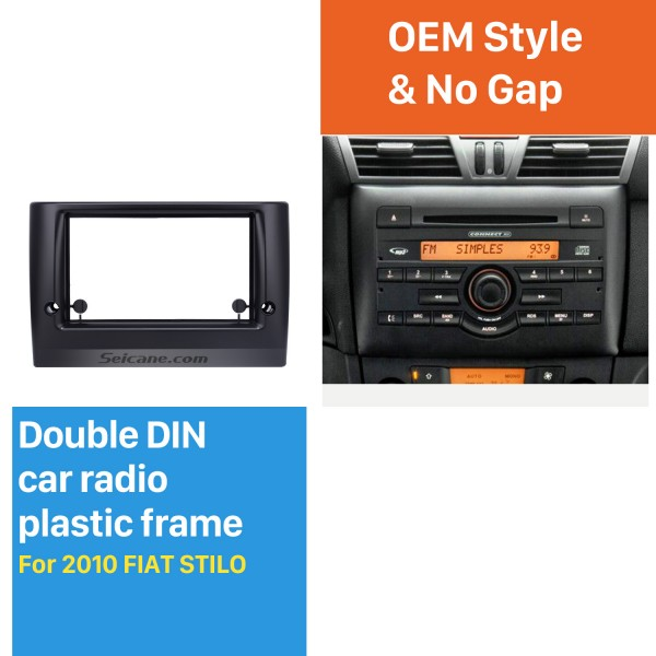 Impresionante Doble Din Car Radio Fascia para 2010 Marco FIAT STILO DVD en el tablero del panel Surround Kit de montaje