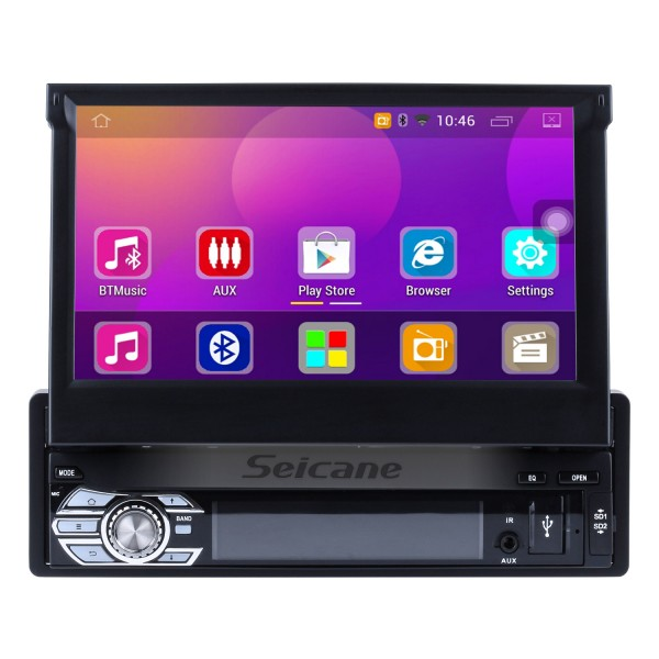 Android 6.0 Universal One DIN Car Radio Navegación GPS Reproductor multimedia con Bluetooth WIFI Soporte de música Enlace espejo SWC DVR 1080P Video