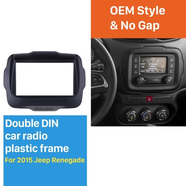 Popular Doble Din Car Radio Fascia para el 2015 Jeep Renegade Equipo de tablero Instalación del panel capítulo de la placa de ajuste de CD