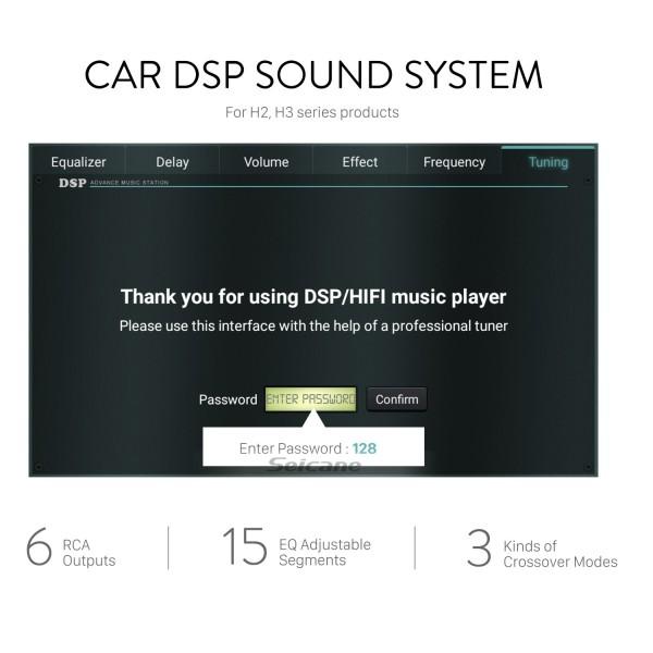 Sistema de sonido de audio para automóvil DSP para estéreos de automóvil de la serie H2 H3 con 6 salidas RCA segmentos ajustables de 15 EQ reales 3 tipos de modo cruzado