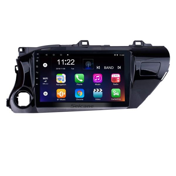 Radio con pantalla táctil Android 10.0 HD de 10.1 pulgadas para 2016 2017 2018 TOYOTA HILUX Controlador de mano izquierda con sistema GPS GPS Navi USB FM Control del volante Soporte DVR Cámara de visión trasera OBD