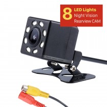 HD Coche Cámara trasera Kit de estacionamiento trasero de monitor de respaldo CCD CMOS con 8 LED