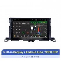 10.1 pulgadas Android 10.0 Sistema de navegación GPS para 2015 Toyota Highlander Bluetooth Pantalla táctil Radio compatible con TPMS DVR OBD Cámara de respaldo TV Video 3G WiFi