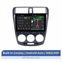 10.1 pulgadas Android 10.0 radio de coche Reproductor de DVD Sistema de navegación GPS para 2008-2013 HONDA CITY con pantalla táctil Música Bluetooth OBD2 4G WiFi AUX Control del volante Cámara de respaldo