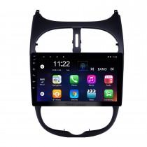 HD Touchscreen 9 pulgadas Android 10.0 Radio de navegación GPS para 2000-2016 Peugeot 206 con Bluetooth AUX WIFI compatible Carplay TPMS DAB +