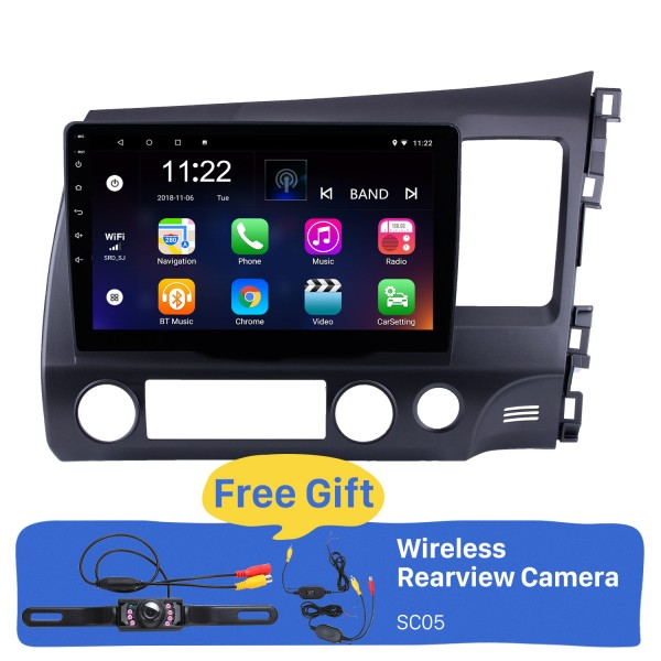 10,1 Zoll Android 8.1 2006-2011 HONDA CIVIC rechts fahrendes HD-Touchscreen-Radio GPS-Navigationssystem WIFI USB Bluetooth-Musik 1080P OBDII DVR Mirror Link