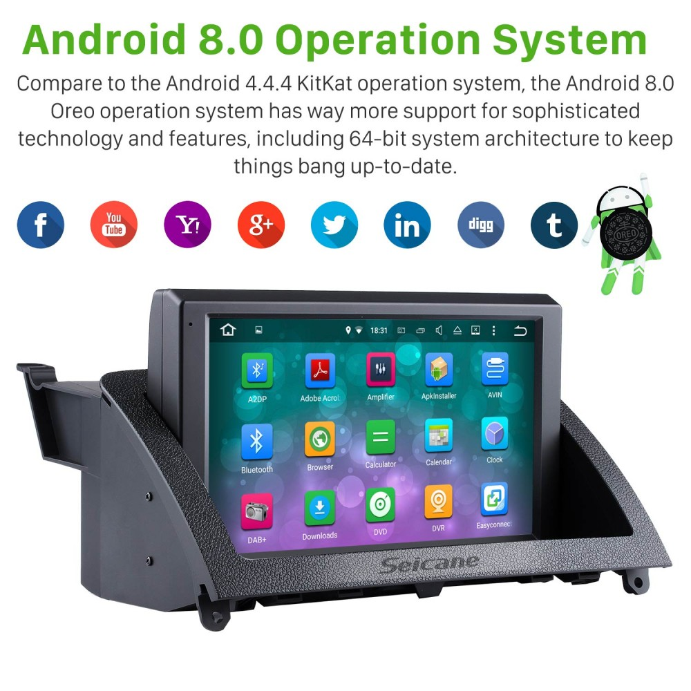8 Zoll HD 1024 * 600 Touchscreen Android 8 0 2007-2011