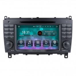 Android 10.0 Sistema de navegação GPS para 2006-2011 Mercedes-Benz CLK W209 CLK270 CLK320 CLK350 CLK500 com rádio Leitor de DVD Tela de toque Bluetooth WiFi TV HD 1080P Backup de vídeo Câmera de segurança Controle de volante da câmera USB SD