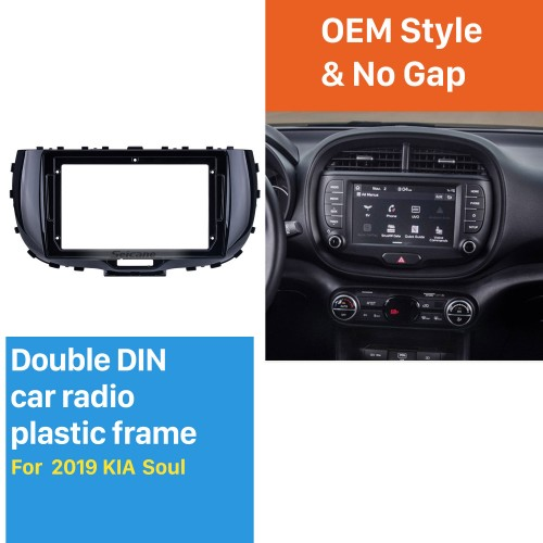 Quadro preto UV para 9 polegadas 2019 Kia Soul Audio Dash Trim Fascia Panel Kit