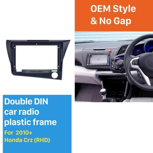 Quadro preto para 9 polegadas 2010 Honda CRZ RHD Kit de painel de painel de fáscia de guarnição de áudio