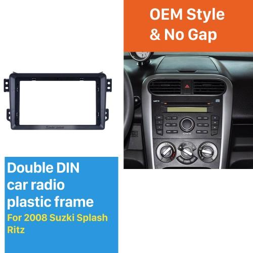 Din duplo para 9 polegadas 2008 Suzuki Splash Ritz Fascia quadro preto Kit de montagem em painel de guarnição