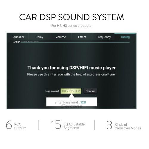 Sistema de som de áudio de carro DSP para aparelhos de som automotivos da série H2 H3 com 6 saídas RCA reais 15 segmentos ajustáveis de equalização 3 tipos de modo crossover