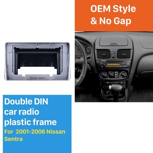 Din duplo Para 10.1 polegadas 2001-2006 Nissan Sentra Fascia Moldura de Prata Traço Kit de Montagem Painel de Guarnição