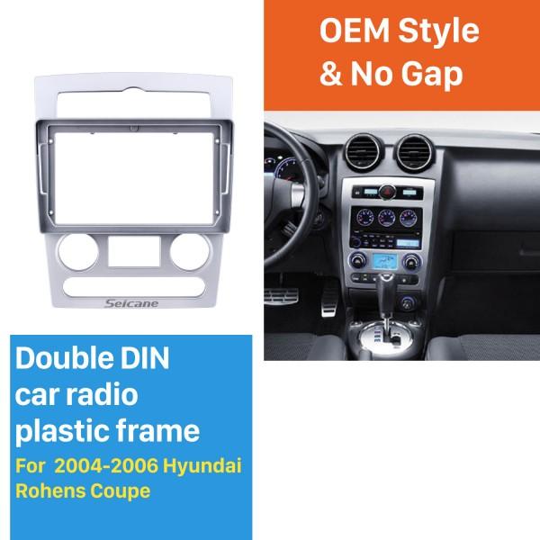 Moldura de prata da fáscia para 9 polegadas 2004-2006 Hyundai Rohens Coupe Kit de montagem em painel de guarnição