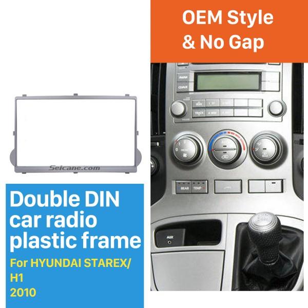 Prata 2Din 2010 HYUNDAI STAREX H1 Car Radio Fascia DVD Stereo guarnição Player Instalar Kit Quadro Traço