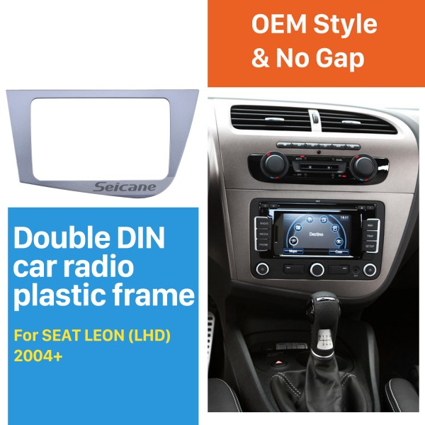 2 Din Fascia for 2005-2011 Seat Leon left hand driving Car Radio Head Unit GPS Navigation plate panel Frame