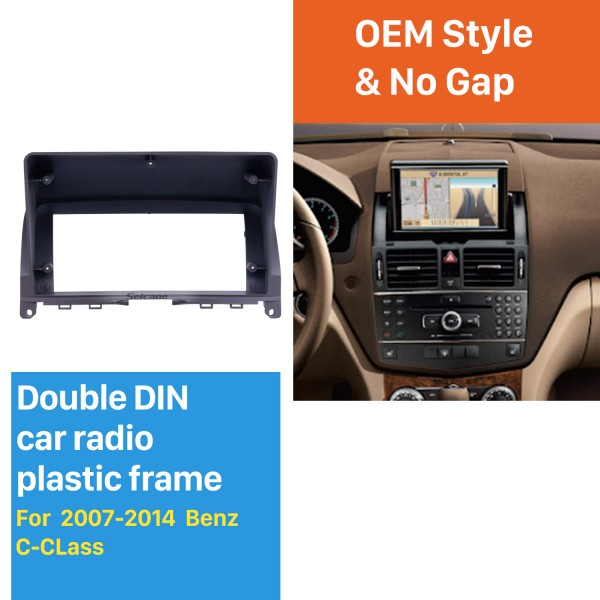 Quadro preto 9 polegada Para 2007-2014 Benz C-CLass Audio Dash Trim Fascia Panel Kit