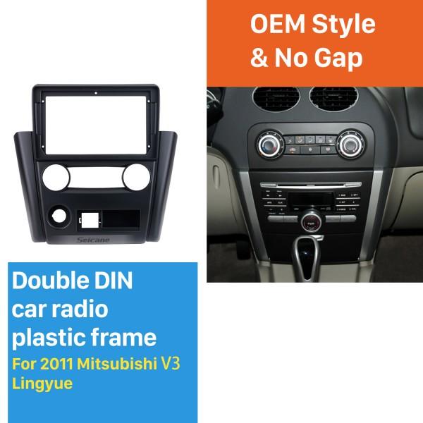 Din duplo para 9 polegadas 2011 Mitsubishi V3 Lingyue Fascia moldura preta traço Kit de montagem do painel
