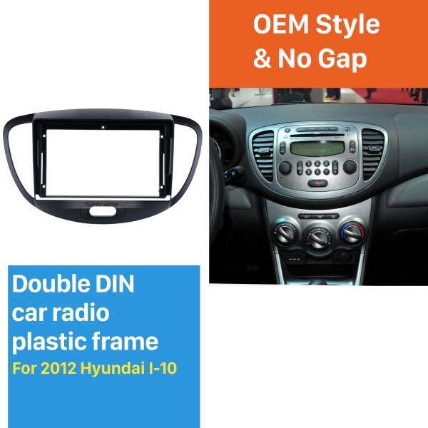 No Traço Quadro Preto Para 9 polegadas 2012 Hyundai I10 Fascia Painel Moldura Kit Guarnição Tampa Guarnição Estilo OEM