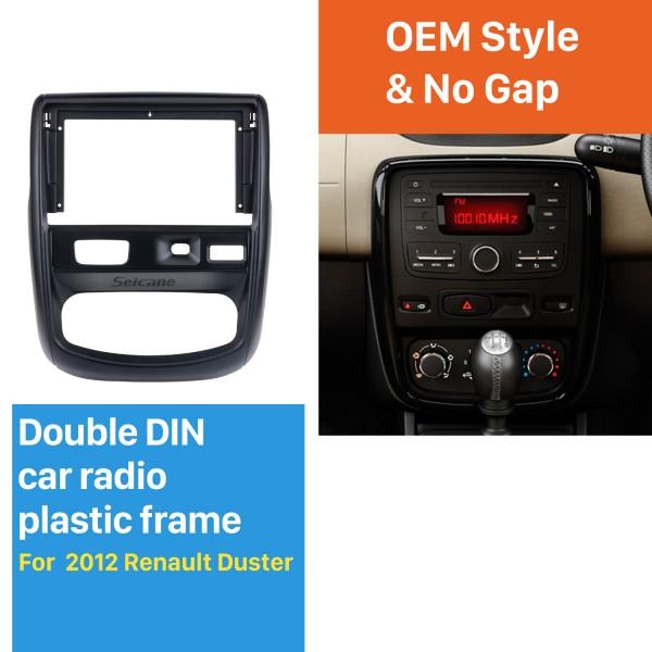 Din duplo de 9 polegadas para 2012 Renault Duster Fascia Quadro preto Kit de montagem em painel de guarnição