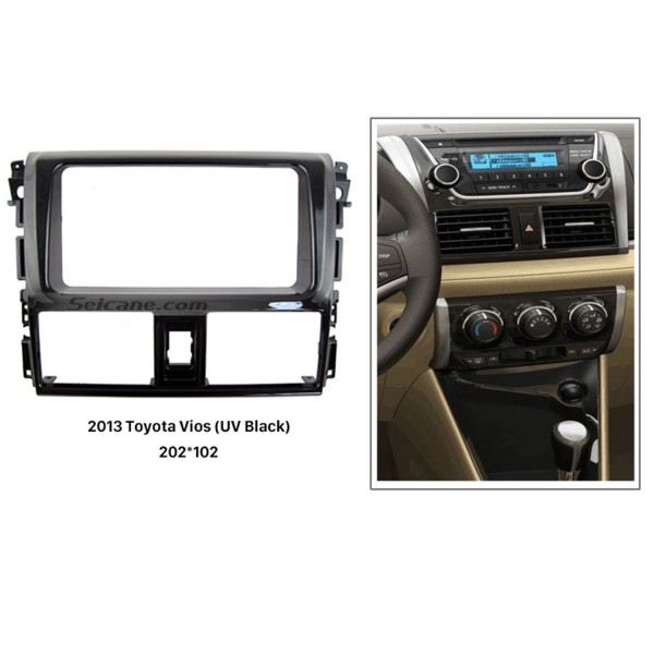 Perfect Double Din 2013 Toyota Vios Car Rádio Fascia Kit de instalação Dash Frame CD Stereo Interface