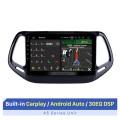 Navegação GPS Android 10.0 para 2017 Jeep Compass 10,1 polegadas HD Touchscreen Multimídia Rádio Bluetooth MP5 música WIFI USB suporte 4G Carplay SWC OBD2 Retrovisor