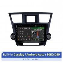 10,1 polegadas Pure Android 10.0 para Toyota Highlander 2008-2014 Remoção de rádio com sistema de áudio automotivo de navegação por satélite 1024 * 600 Tela capacitiva multitoque OBD2 3G WiFi AUX10