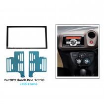 173 * 98mm Double Din 2012 Honda Brio Carro Rádio Fascia Dash Kit Painel surround Auto Estéreo Quadro de instalação