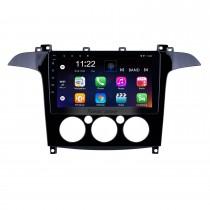 2007-2008 Ford S-Max Manual A / C Android 10.0 HD Touchscreen de 9 polegada Bluetooth Rádio de Navegação GPS com suporte AUX OBD2 SWC Carplay