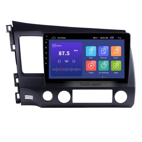 10,1-дюймовый 1024 * 600 HD с сенсорным экраном Android 10.0 GPS-навигатор Радио для 2006-2011 Honda Civic (LHD) с Bluetooth WIFI OBD2 USB Audio Aux 1080P Камера заднего вида