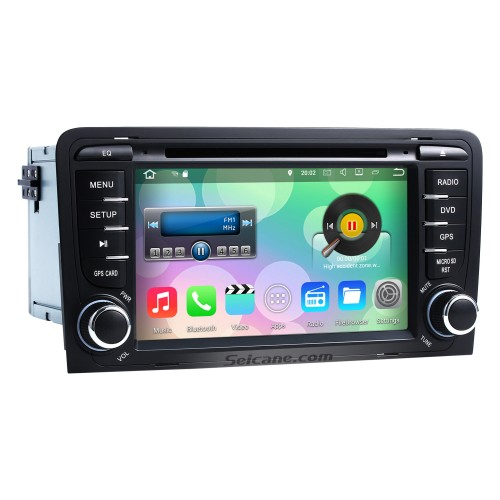 Seicane S127683 16G 2003-2011 Audi A3 Android 4.4.4 Autoradio Navigation Aftermarket Stereo with Quad-core CPU AM FM Radio Mirror Link OBD2 3G WiFi Bluetooth DVD HD 1024*600 Multi-touch Screen Auto A/V HD 1080P Video