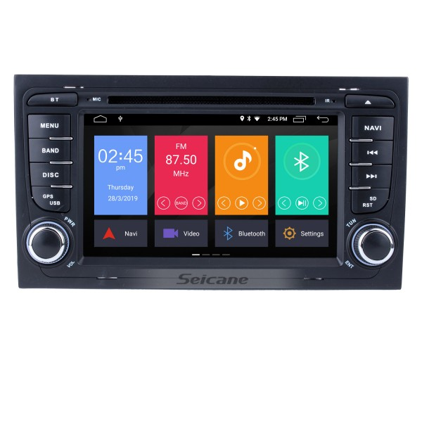 Seicane S127684 HD 1024*600 Multi-touch Screen Android 4.4.4 DVD Navigation Head Unit for 2002-2008 Audi A4 S4 RS4 with Quad-core CPU Radio Tuner 3G WiFi Bluetooth Music Mirror Link OBD2 AUX 16G Flash DVR Canbus