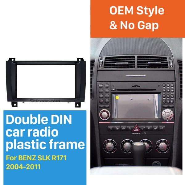 Чувствительная Двойной Дин 2004-2011 Mercedes-Benz SLK R171 Автомобильный радиоприемник Fascia Stereo Даш Рама Панель Аудио Место Адаптер