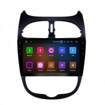 2000-2016 PEUGEOT 206 Android 9.0 9-дюймовый сенсорный экран Головной блок GPS Navi Radio SWC Bluetooth FM Зеркало Ссылка Wifi Carplay USB Backup Rearview поддержка DVD-плеер