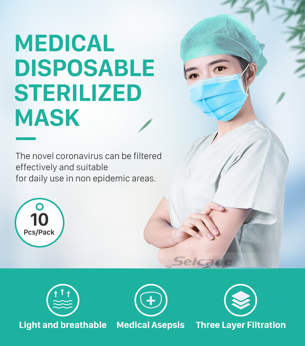 Seicane Disposable Face Masks for Adults Medical Mouth Mask Protective for pet allergens Hospitals and Other Dusty environments That Require Respiratory Protection 10 Pcs/Pack