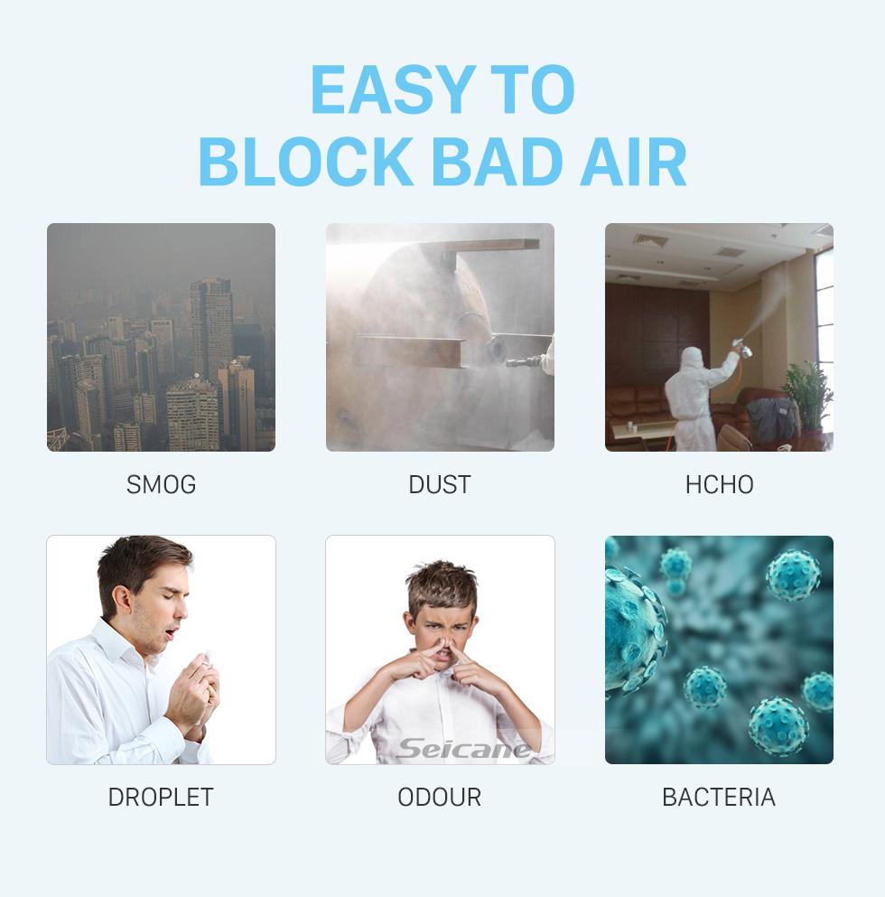 Seicane Máscaras N95 Máscaras Protetoras Anti-fog E Respiráveis à Prova de Poeira 4 Camadas pm2.5 Filtragem a 95% 2 Unidades / pacote