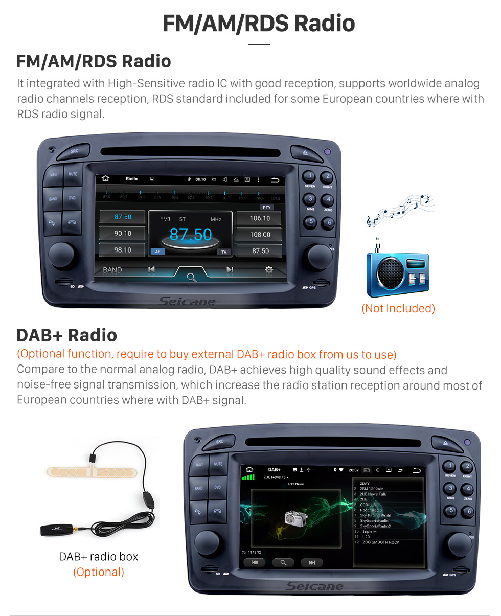 Seicane Car DVD player for Mercedes-Benz CLK-W209 with GPS Radio TV Bluetooth Touch Screen