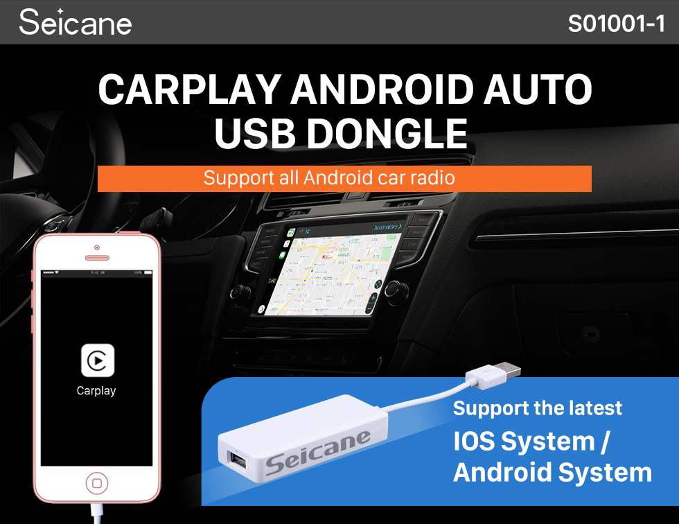 Seicane Plug and Play Carplay Android Auto USB Dongle For Android Car Radio Support IOS IPhone Car touch screen control Siri Microphone voice control