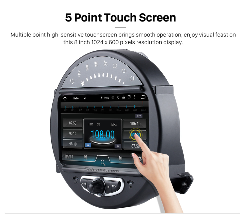 5 Point Touch Screen HD 1024*600 Touchscreen 2006-2013 BMW Mini Cooper with 8 inch Android 5.1.1 Autoradio GPS DVD Player Bluetooth HD 1080P Video Steering Wheel Control