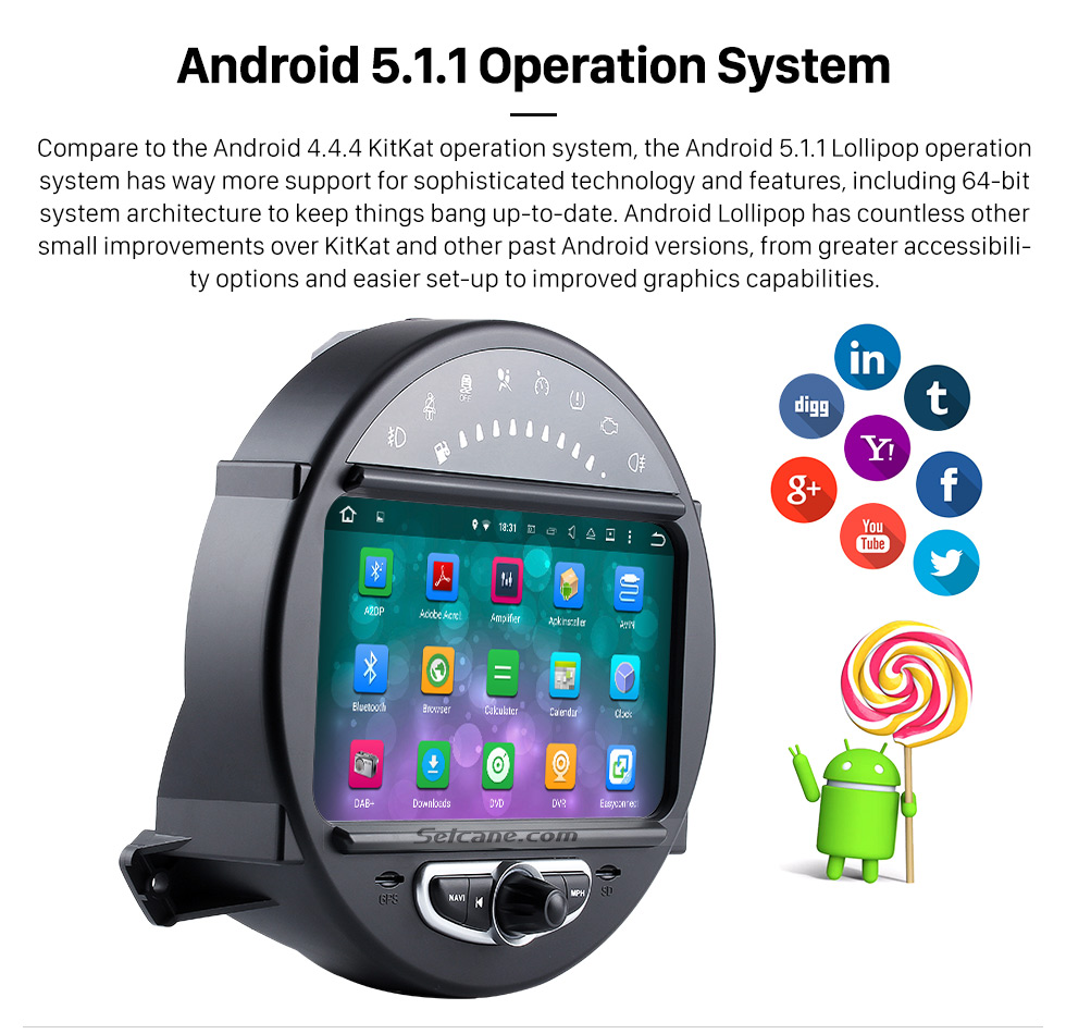 Android 5.1.1 Operation System HD 1024*600 Touchscreen 2006-2013 BMW Mini Cooper with 8 inch Android 5.1.1 Autoradio GPS DVD Player Bluetooth HD 1080P Video Steering Wheel Control