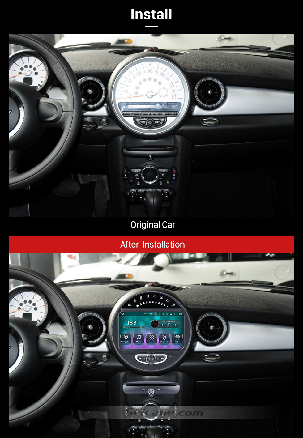 After Installation HD 1024*600 Touchscreen 2006-2013 BMW Mini Cooper with 8 inch Android 5.1.1 Autoradio GPS DVD Player Bluetooth HD 1080P Video Steering Wheel Control
