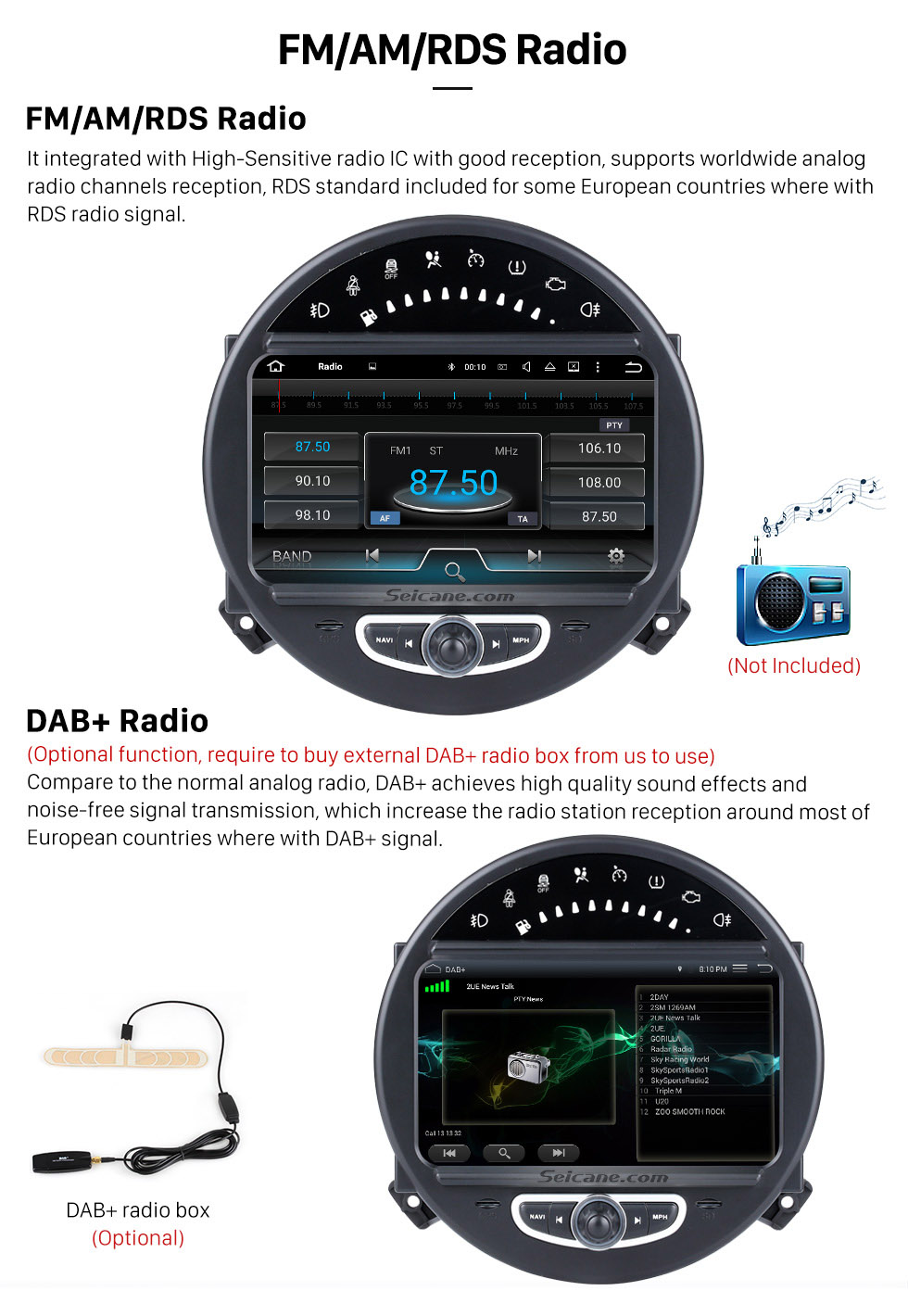 FM/AM/RDS Radio HD 1024*600 Touchscreen 2006-2013 BMW Mini Cooper with 8 inch Android 5.1.1 Autoradio GPS DVD Player Bluetooth HD 1080P Video Steering Wheel Control