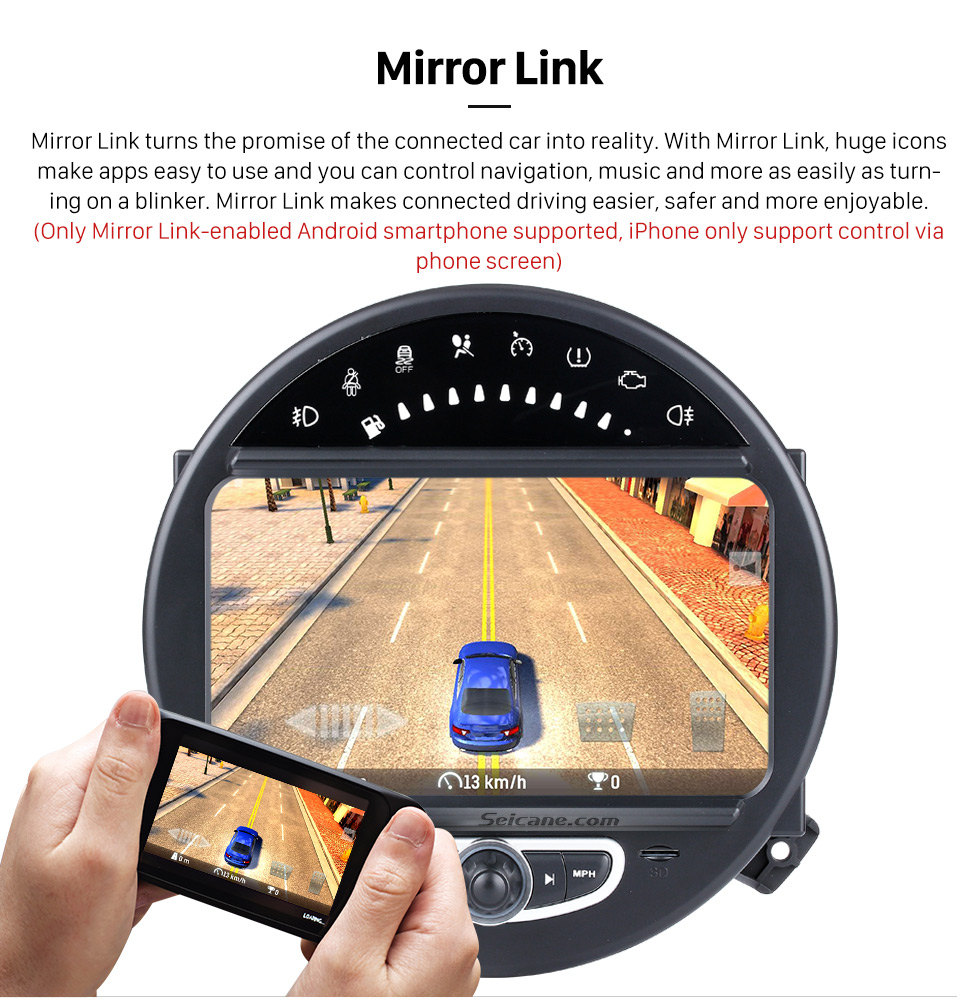 Mirror Link HD 1024*600 Touchscreen 2006-2013 BMW Mini Cooper with 8 inch Android 5.1.1 Autoradio GPS DVD Player Bluetooth HD 1080P Video Steering Wheel Control